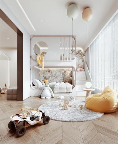 現代兒童房 上下鋪兒童房 懶人沙發