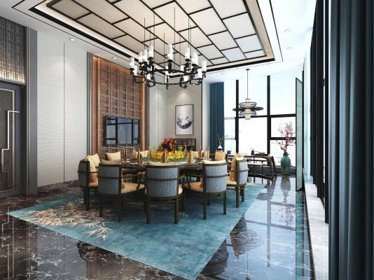 新中式风格餐厅包间 挂画摆件 沙发茶几