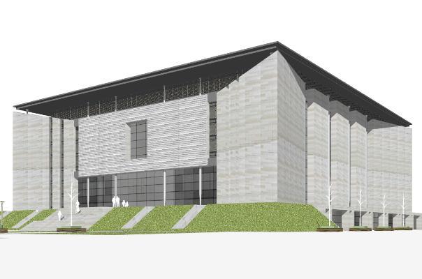 现代风格图书馆 办公楼 体育馆
