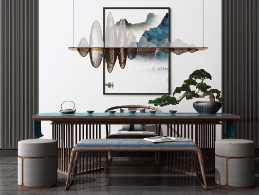 新中式书桌椅组合 艺术吊灯 休闲茶桌