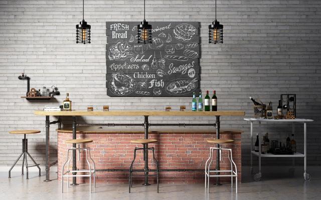工业风吧台吧椅 摆件 吊灯 挂画组合