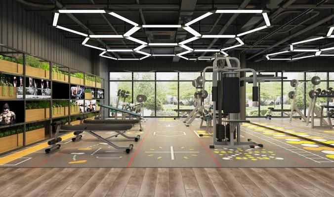 现代健身房 吊灯 健身器材