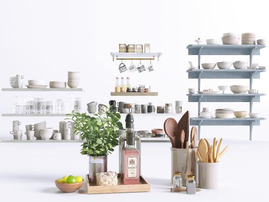 现代厨房用品组合 置物架 水杯