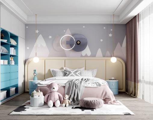 现代女儿房 儿童房 双人床 吊灯