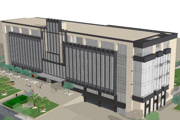 现代风格办公楼 图书馆 教学楼