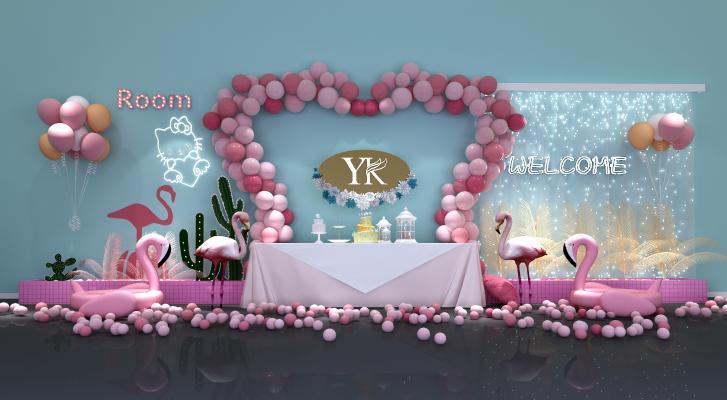 现代网红店装饰墙 餐厅 火烈鸟 气球 泡泡 酒吧 火吧 KTV 奶茶店 咖啡厅 美容