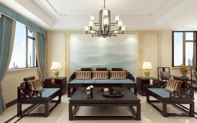 新中式客餐厅厨房 沙发背景 酒柜