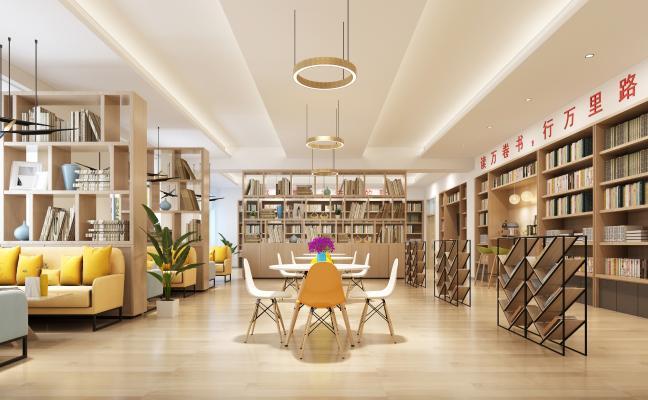 现代图书馆 吊灯 书柜