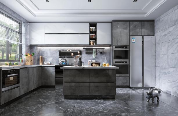 现代风格开放式厨房 岛台