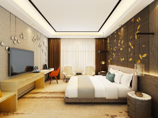 现代酒店客房 大床房