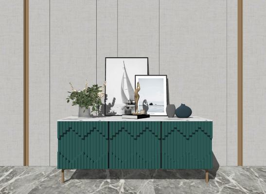 现代装饰柜 边柜 摆件组合