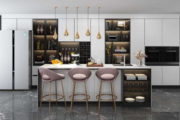 现代厨柜吧台吧椅