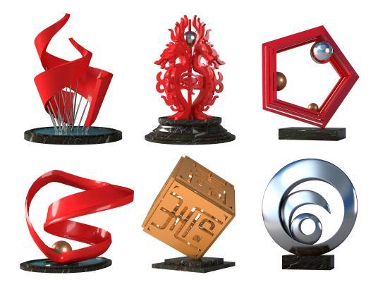 新中式城市雕塑 雕塑 摆件
