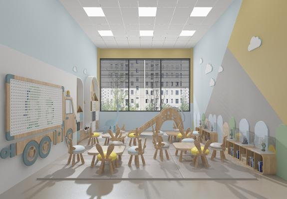 现代幼儿园 教室 桌椅 书柜