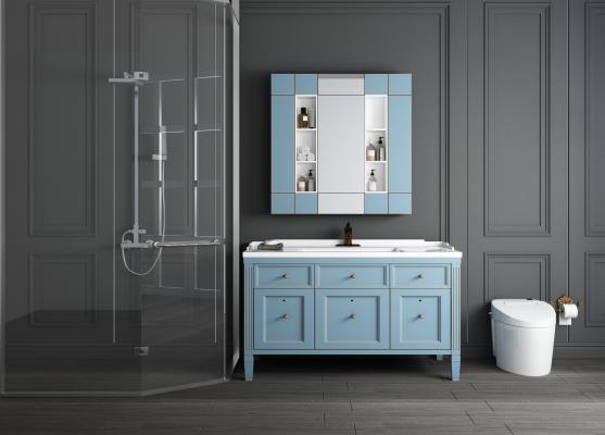 地中海洗手台 浴室柜 淋浴房 马桶