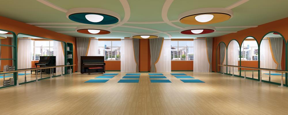 现代舞蹈教室 钢琴室 瑜伽垫
