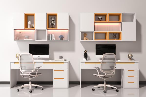 现代电脑桌椅组合 书桌 写字桌 饰品摆件