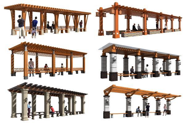 中式景观廊架 花架 葡萄架