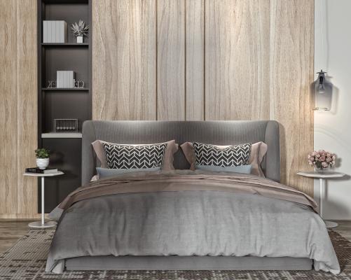 现代卧室 双人床 书柜