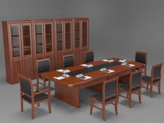 新中式会议桌椅组合 书柜