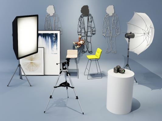 现代摄影棚摄影设备组合