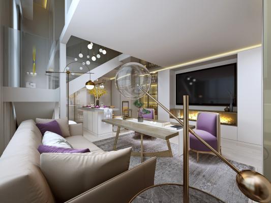 现代客厅 沙发 餐厅 壁灯 地毯 装饰画