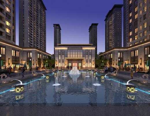 新中式酒店会所外观 高层住宅建筑 住宅小区