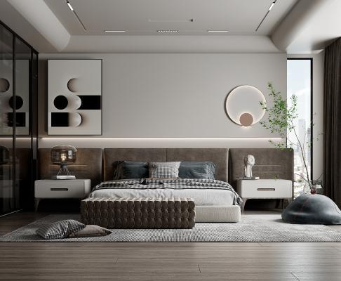 现代卧室 布艺双人床 木质床头柜 台灯 壁灯