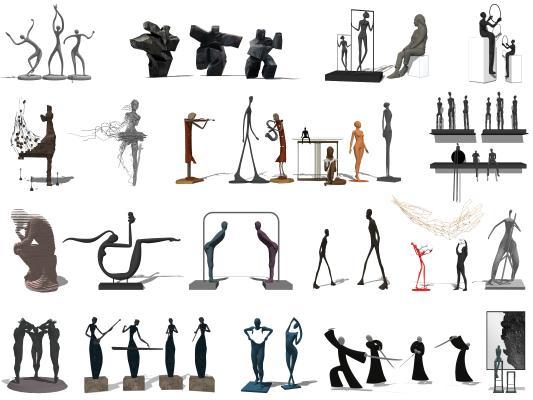 现代抽象雕塑小品 人物艺术雕塑摆件