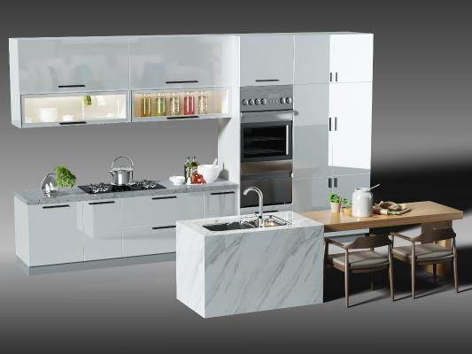 現代廚房櫥柜 中島柜 餐桌椅組合