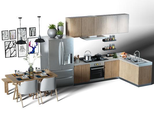 現代廚房櫥柜 廚具 餐桌椅組合