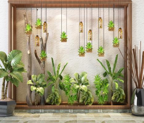東南亞植物盆栽 裝飾墻