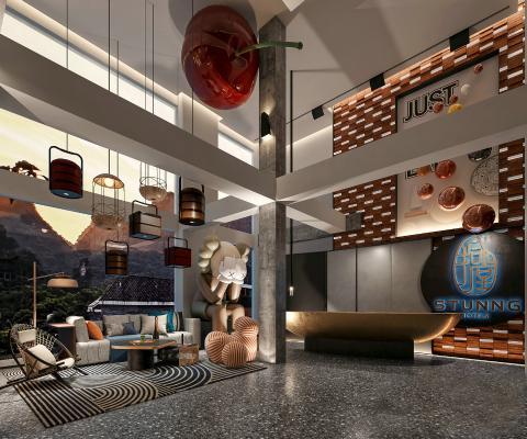 现代别墅客厅 休息区