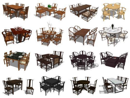 新中式风格餐桌椅组合