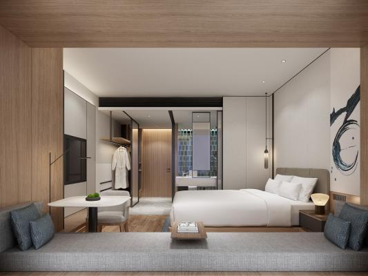 现代酒店客房 吊灯 双人床