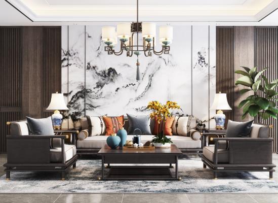 新中式客厅 吊灯 沙发
