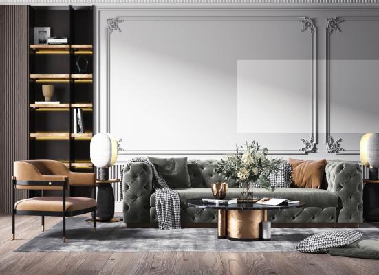 法式輕奢客廳 沙發茶幾組合