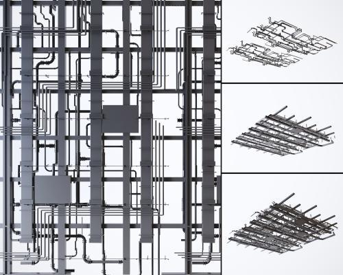工业风空调通风管道 消防管道组合