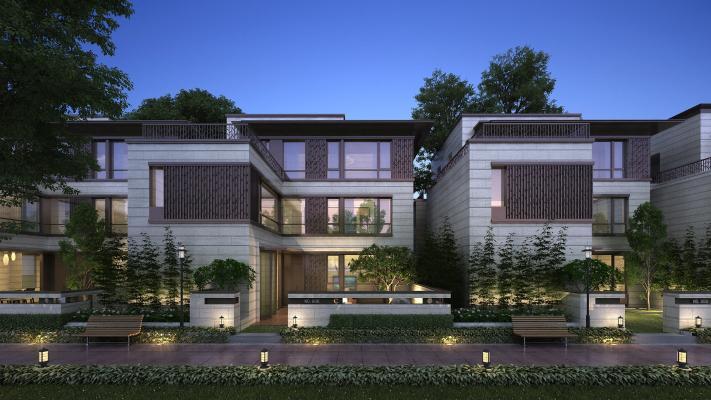 新中式风格双拼别墅