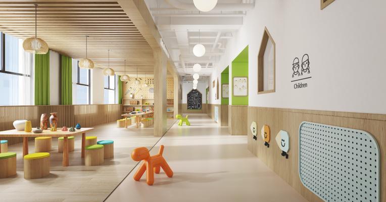 现代幼儿园 过道