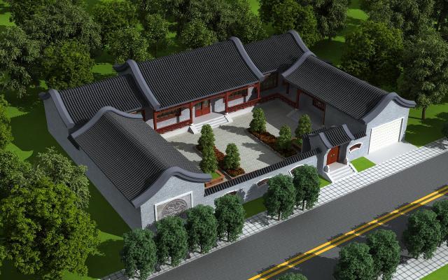 中式别墅 室外建筑