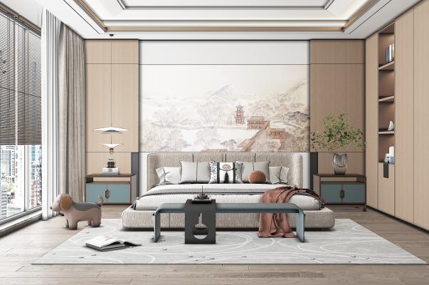 新中式卧室 床头柜 双人布艺床