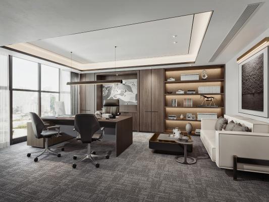 现代老总经理办公室 办公桌椅 皮革沙发