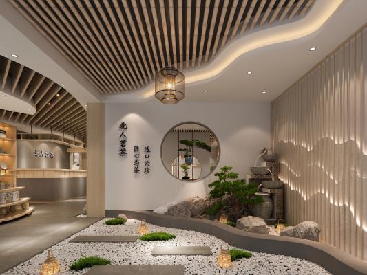 新中式茶叶店 茗茶店 流水花池