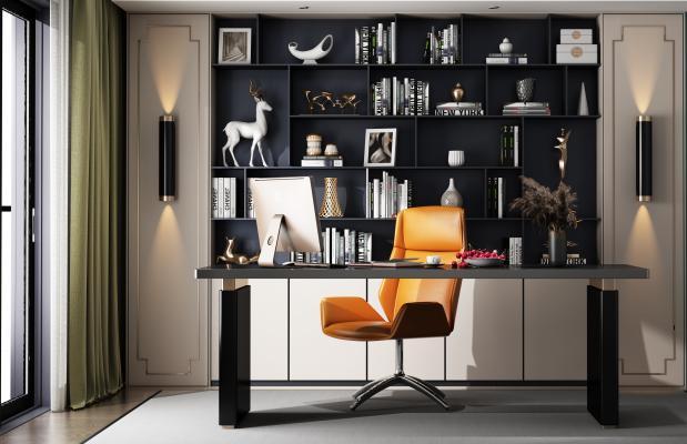 现代轻奢书桌椅