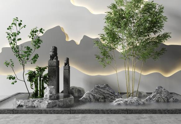 新中式山水景�^ �@�小品