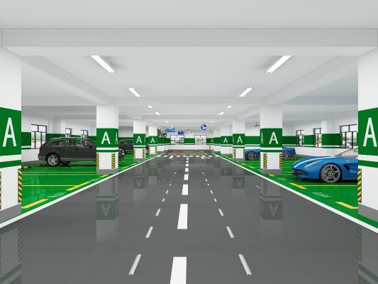 现代停车场 吊灯 汽车