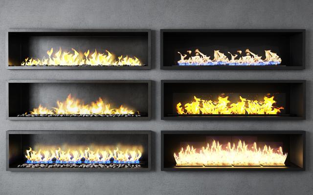 现代壁炉 炉火