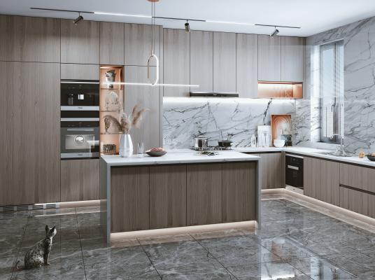 现代风格开放式厨房 蒸烤箱 烟机