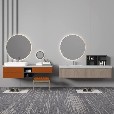現代浴室柜架 圓形鏡子
